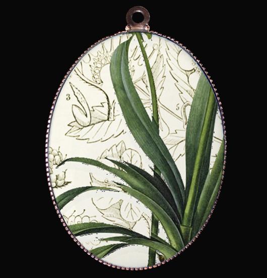 medaglione in porcellana con foglie, regalo per festa della mamma, per maestra, per amica, per chi ama la natura e il verde