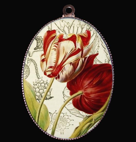 medaglione in porcellana con tulipani, regalo per festa della mamma, per maestra, per amica, simbolo dell'amore eterno