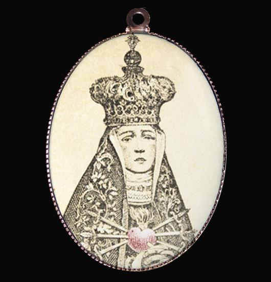 medaglione in porcellana, regalo religione, immagini vintage, regalo mamma, cuore sacro, Madonna