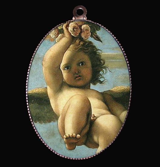 medaglione in porcellana con particolare del dipinta Cherubino del Carracci, Angelo Custode che veglia su di te, per proteggere chi ami, regalo per figlia, per mamma, per amata, per amica
