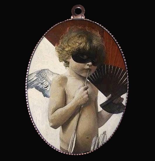 medaglione in porcellana con angelo cupido, particolare del dipinto di Franz von Stuck