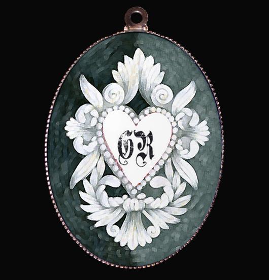 medaglione in porcellana con cuore sacro bianco su fondo sfumato grigio azzurro, ex voto per regalo con sentimento, regalo per natale, regalo per catechista