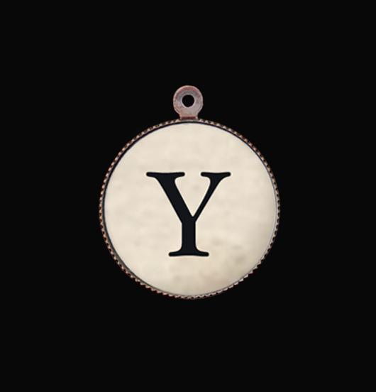 Ciondolo con lettera dell'alfabeto Y. Iniziale in porcellana da montare su una collana o un bracciale. Regalo personalizzato.
