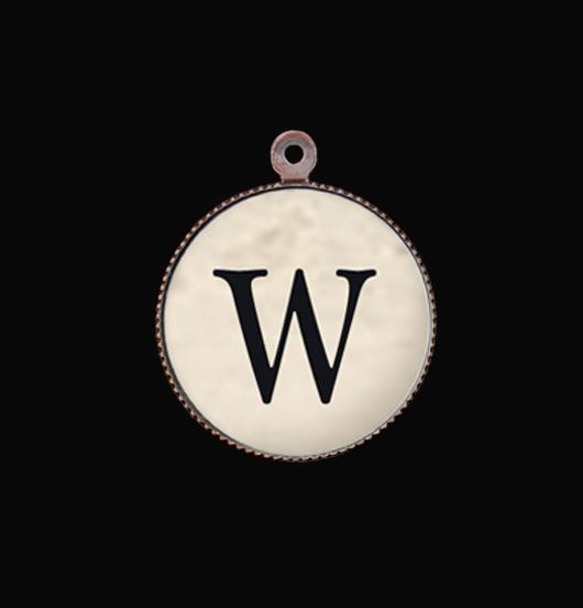 Ciondolo lettera W in porcellana, personalizza un bracciale o una collana con l'iniziale. Regalo per amico, maestra, amante.