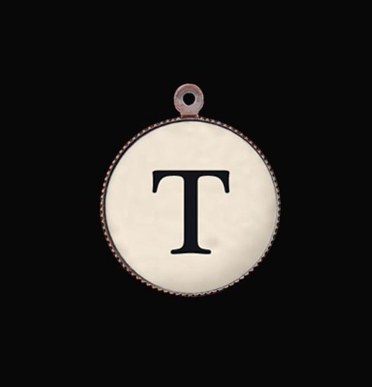 Lettera T. Ciondolo in porcellana con iniziale. Crea il tuo gioiello, regalo personalizzato.