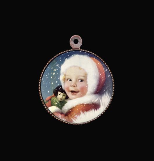 Medaglietta in porcellana con tema natalizio. Adatto a personalizzare un bracciale, una collana. Regalo di Natale.