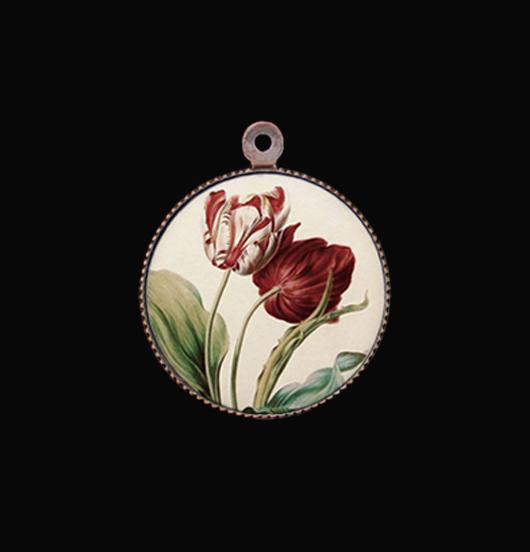 Ciondolo in porcellana con tulipani per personalizzare collane e bracciali. Idea regalo per gli amanti della natura.