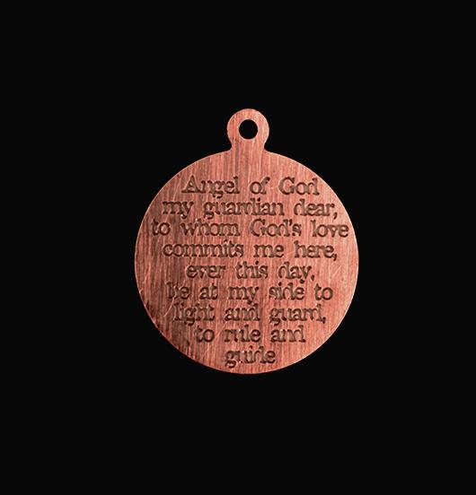 medaglietta in rame con preghiera angelo custode incisa, regalo per prima comunione, regalo per cresima, regalo per battesimo, regalo migliore amica, figlia, figlio, regalo protezione