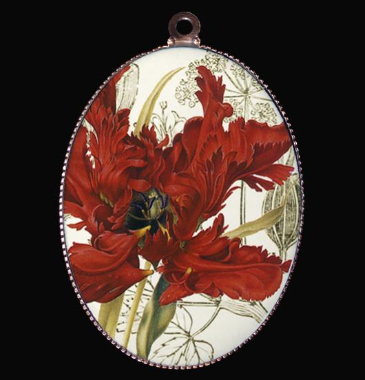 medaglione in porcellana con tulipano pappagallo, simbolo dell'amore allegro, della persona, regalo per amica bizzarra e allegra