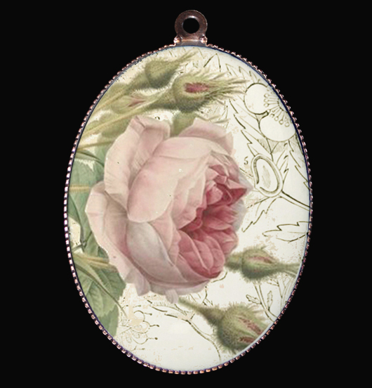 medaglione in porcellana con rosa, regalo per mamma, per maestra, per creare il tuo gioiello personalizzato
