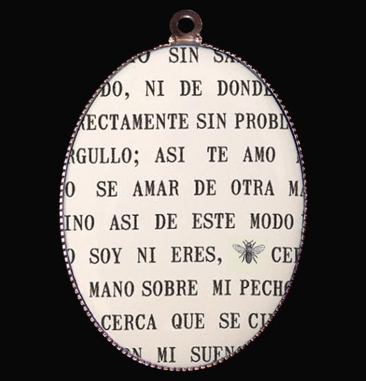 medaglione in porcellana con poesia d'amore di Pablo Neruda, per una dichiarazione d'amore, per l'innamorata, regalo per san valentino, per natale, per compleanno