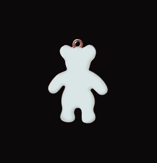 Ciondolo a forma di orsetto azzurro in rame smaltato. Regalo per nascita,battesimo,neonato.