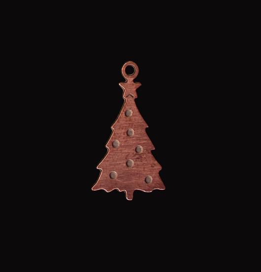 Ciondolo a forma di albero di natale in rame smaltato verde. Adatto a personalizzare il tuo gioiello. Regalo di Natale.
