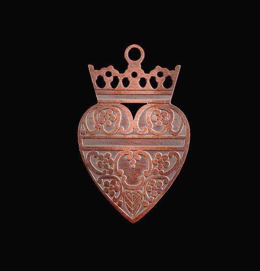 pendente in rame ex voto corona, regalo ispirazione vintage, sacro