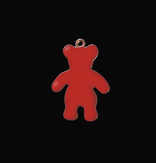 Ciondolo a forma di orsetto rosso in rame smaltato rosso. Regalo adatto per un battesimo, una nascita, un bambino o per  natale.