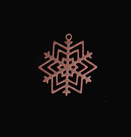 Ciondolo in rame a forma di cristallo di neve, adatto a personalizzare i tuoi gioielli. Regalo di Natale.