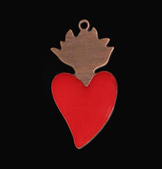 ciondolo a forma di cuore sacro in rame smaltato rosso, regalo cuore, regalo san valentino