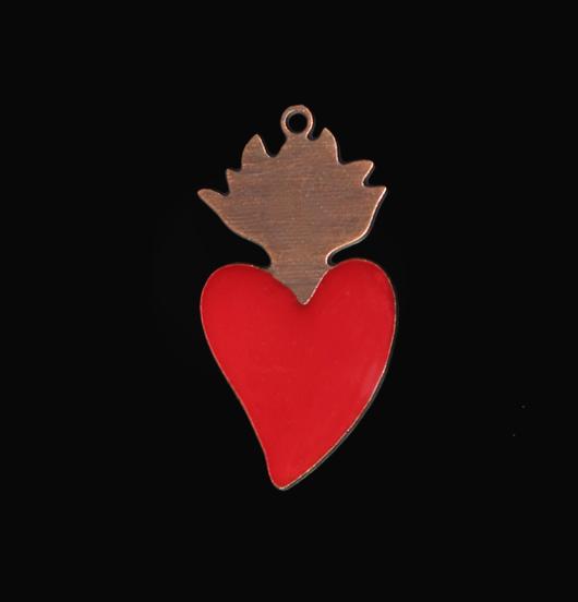 ciondolo cuore sacro in rame smaltato rosso, ex voto, simbolo religioso, amicizia