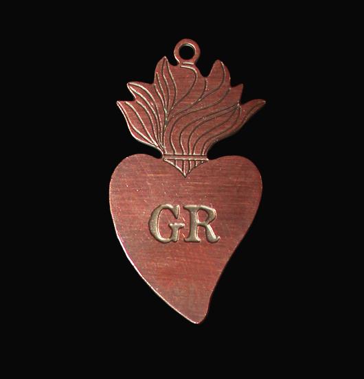 ciondolo cuore sacro ex voto in rame, regalo religione, regalo amica, regalo cuore