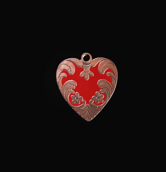 Ciondolo a forma di cuore in rame con smalto rosso, adatto a personalizzare i tuoi gioielli e come regalo di San Valentino, Natale, per la mamma.