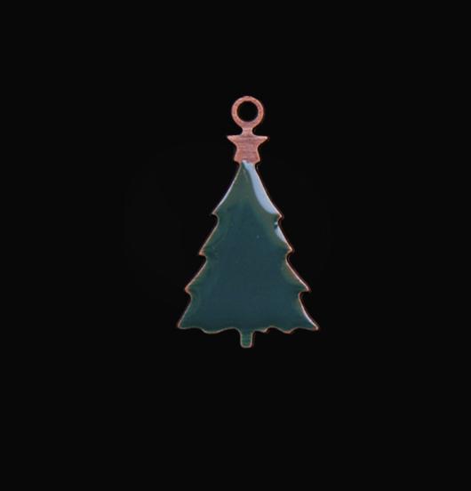 Ciondolo a forma di albero di Natale smaltato verde, adatto come regalo, da montare su bracciali e collane.