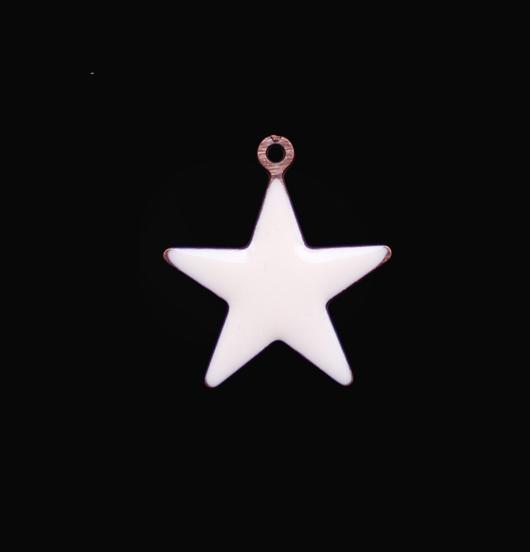 ciondolo a forma di stella smaltata bianca, regalo per papà, mamma, maestra, miglior amica