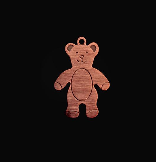 Ciondolo a forma di orsetto in rame. Regalo per   battesimo,nascita,bambino,natale.