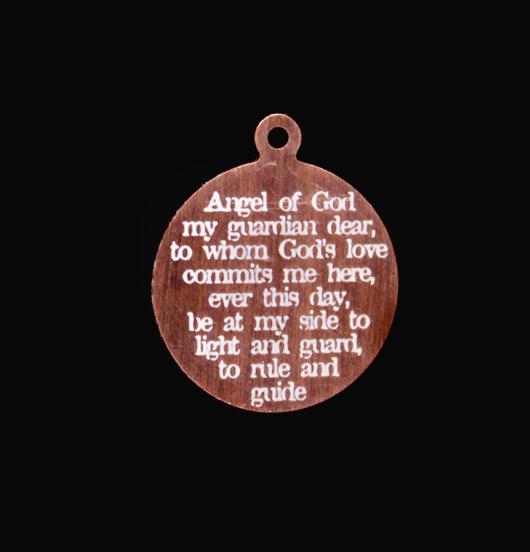ciondolo in rame con preghiera angelo custode incisa, regalo per cresima, regalo per protezione, amicizia, regalo battesimo, comunione