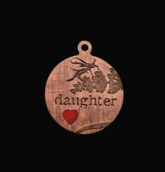 medaglietta in rame dedicata ad una figlia, regalo figlia, regalo matrimonio, regalo compleanno