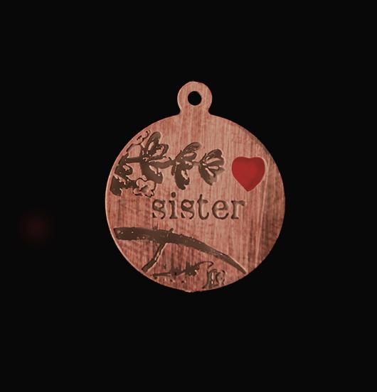 medaglietta in rame dedicata ad una sorella, regalo per sorella, regalo famiglia, regalo miglior amica