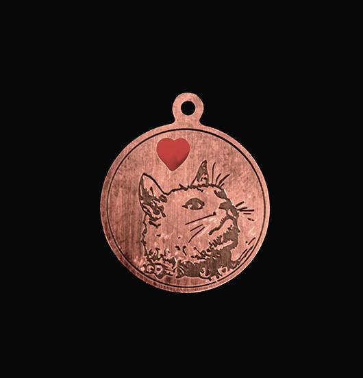 medaglietta in rame dedicata a chi ama i gatti, regalo per amante gatto, regalo per amante animali