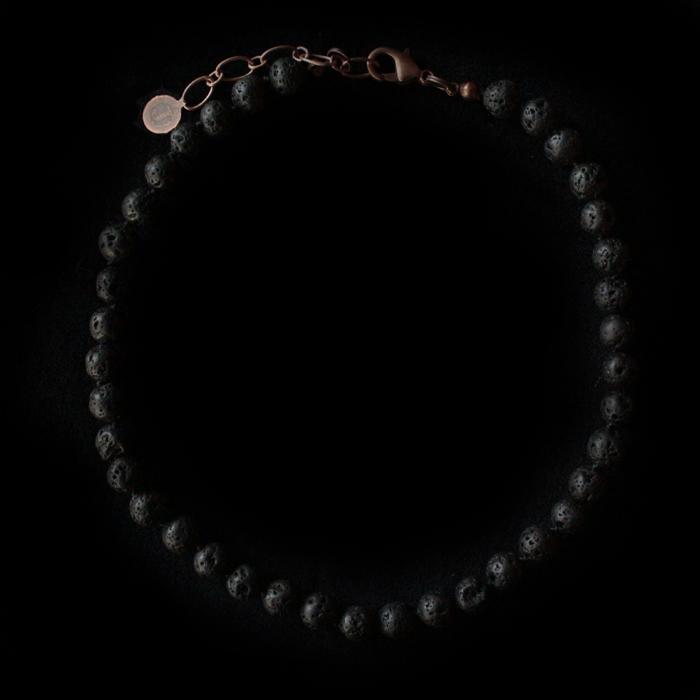 collana bracciale in lava nera, collana personalizzabile con ciondoli, regalo esclusivo