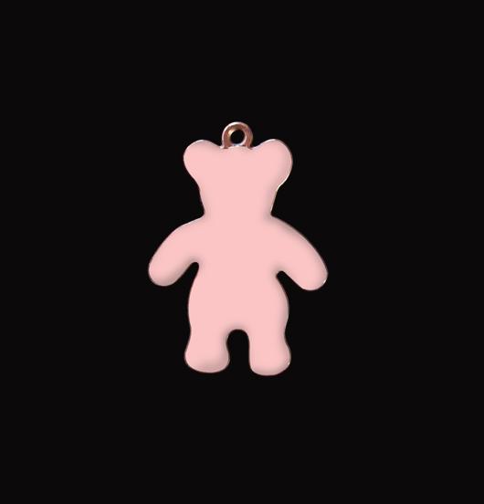 Ciondolo orsetto smaltato rosa in rame. Regalo fatto per nascita, battesimo, bambina, natale. Crea il tuo gioiello personalizzato con il ciondolo a forma di orsetto.