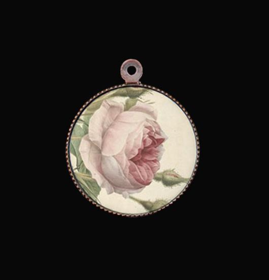 ciondolo in porcellana con rosa, regalo per mamma, sorella, nonna, zia, miglior amica
