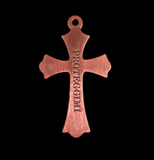 ciondolo in rame a forma di croce con inciso proteggimi,  regalo per cresima, battesimo, prima comunione