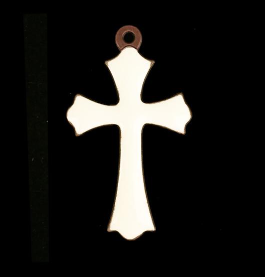 ciondolo in rame a forma di croce con inciso proteggimi smaltata color avorio,  regalo per cresima, battesimo, prima comunione
