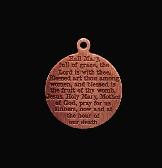 medaglietta in rame con incisa preghiera dell'ave maria, regalo migliore amica, figlia, figlio, regalo protezione, regalo per prima comunione, regalo per cresima, regalo per battesimo