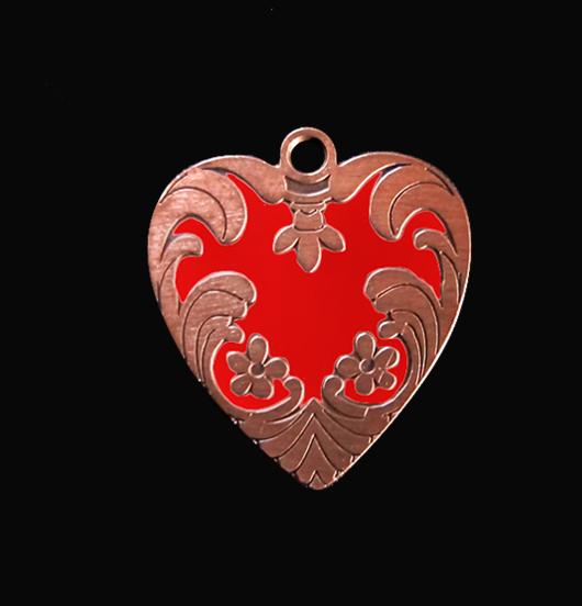 Ciondolo a forma di cuore ribelle rosso in rame smaltato, adatto a creare il tuo gioiello personalizzato. regalo adatto per San Valentino, Natale, per la mamma.