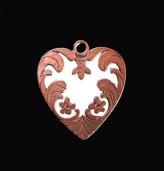 Ciondolo cuore ribelle in rame smaltato bianco. Personalizza la tua collana con questo cuore. Regalo per la mamma.