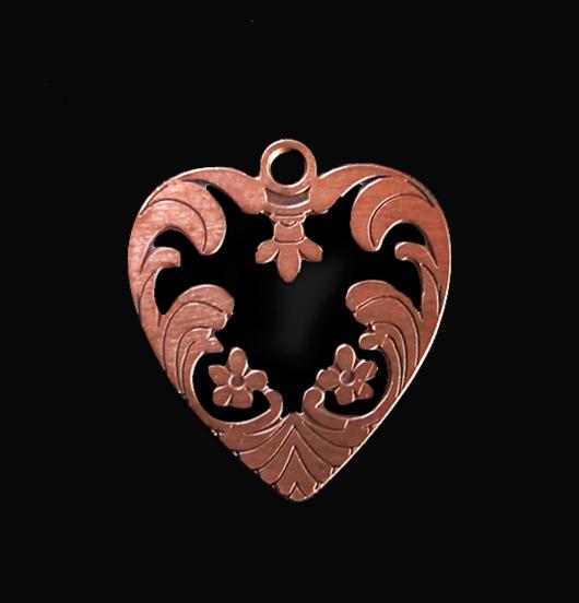 Ciondolo a forma di cuore smaltato nero di rame, adatto a personalizzare i tuoi gioielli. Regalo per la Mamma, San Valentino, per l'amica.