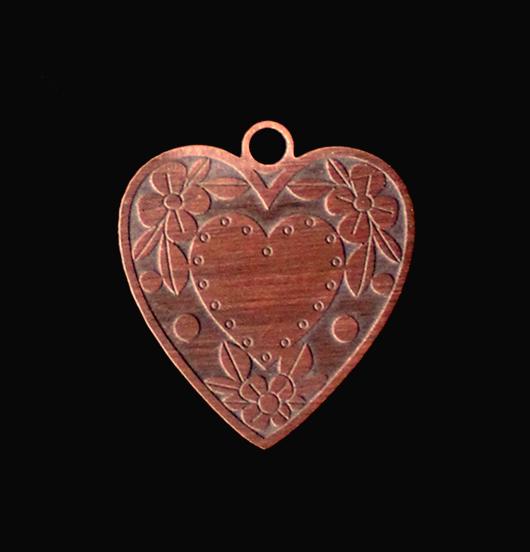 Ciondolo grande a forma di cuore inciso per creare il tuo gioiello personalizzato. Regalo d'amore