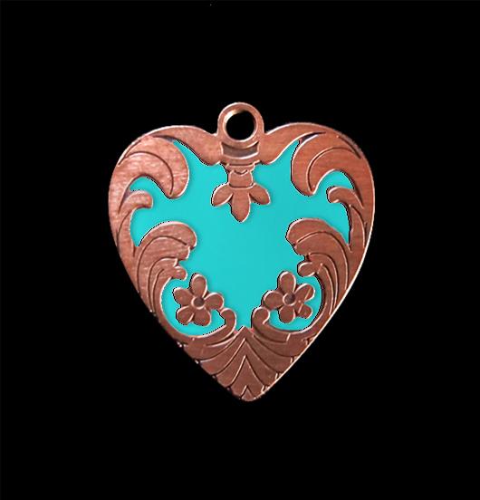 Ciondolo a forma di cuore ribelle turchese in rame smaltato, adatto a creare il tuo gioiello personalizzato. regalo adatto per San Valentino, per gli amanti del mare