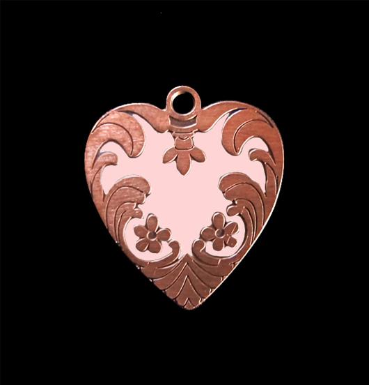 Ciondolo a forma di cuore ribelle rosa in rame smaltato, adatto a creare il tuo gioiello personalizzato. regalo adatto per San Valentino, per la mamma