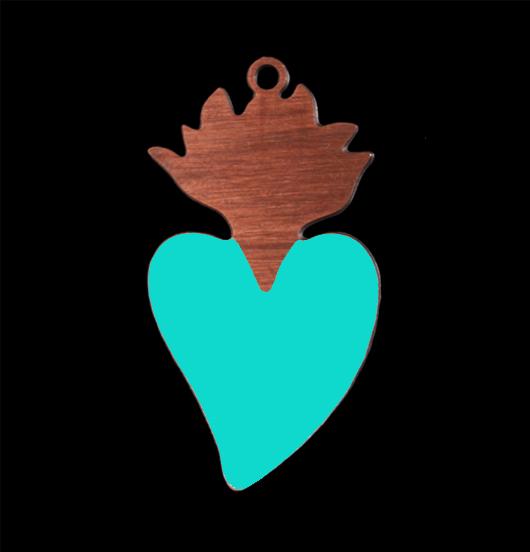 pendente cuore ex voto cuore sacro in rame smaltato turchese, regalo amore, regalo religione