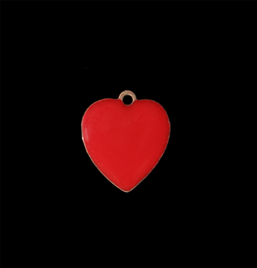 Piccolo ciondolo a forma di cuore smaltato di rosso, regalo per fidanzata, regalo per amica, personalizza il tuo gioiello, cuoricino rosso di rame smaltato.