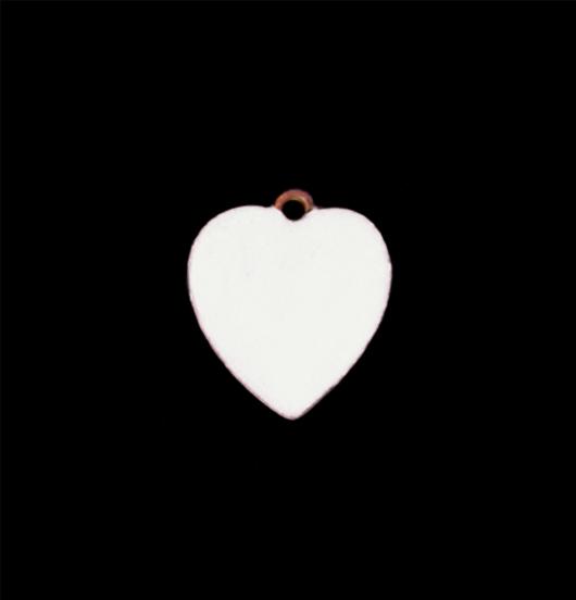 Piccolo ciondolo a forma di cuore smaltato bianco per personalizzare la tua catena o il tuo bracciale. Regalo  per cerimonia, matrimonio, battesimo, nascita.