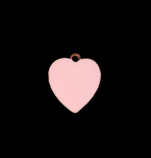 Cuoricino rosa in rame smaltato piccolo. Regalo per battesimo, nascita, comunione, bambina. Adatto a personalizzare collane e bracciali.