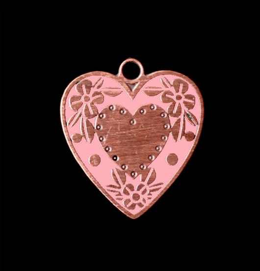 Ciondolo cuore libero in rame con particolari  rosa smaltati. Collana personalizzata da regalare all'amica, alla sorella
