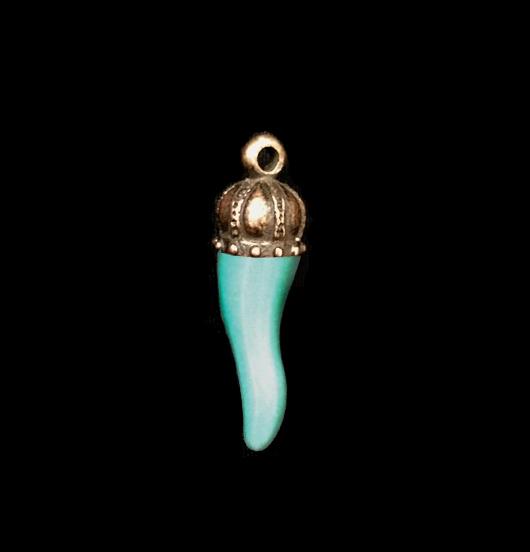 cornetto in fusione rame portafortuna, amuleto benaugurante