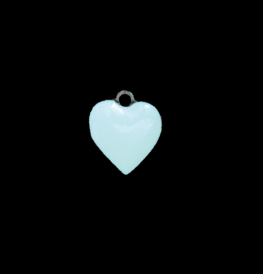 Piccolo cuore in rame smaltato azzurro. Ciondolo per personalizzare i gioielli. Regalo per battesimi, comunioni, nascita, bambini, mamma, compleanno.